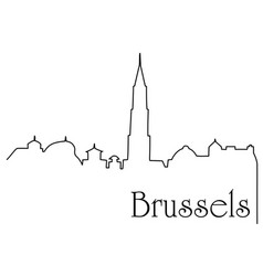 brussels city one line drawing background vector image