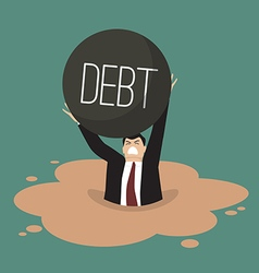 Businessman with heavy debt sinking in a quicksand vector image vector image