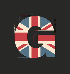 Capital 3d letter g with uk flag texture isolated vector