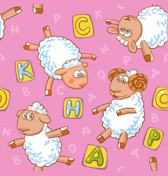 cartoon seamless pattern with cute sheep vector image vector image