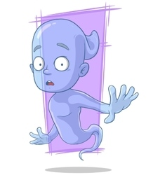 Cartoon surprised transparent blue ghost vector image vector image