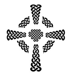 Celtic style knotted cross with eternity knots vector