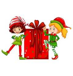 Christmas theme with elf and present box vector