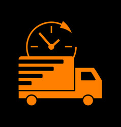 Delivery sign orange icon on black vector