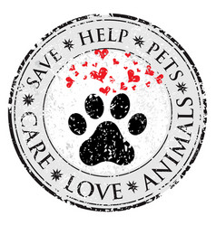 Dog paw heart love sign icon pets symbol textured vector