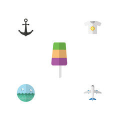 Flat icon beach set of clothes ocean sundae and vector