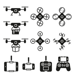 flying drone flat icons on white background vector image