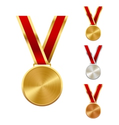 Golden silver and bronze festive winners medals vector