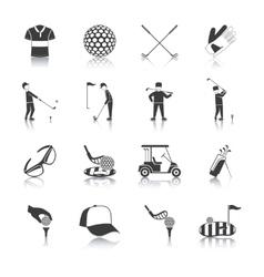 Golf black white icons set vector
