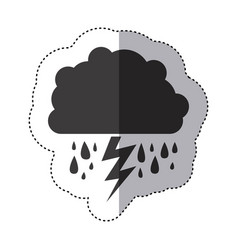 Gray silhouette sticker of cloud with rain and vector