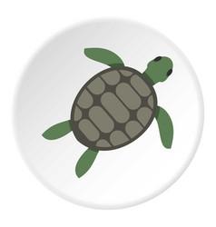 Green sea turtle icon circle vector