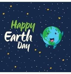 Happy earth day cartoon card vector