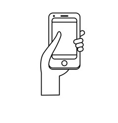 Line smartphone digital technology to vector