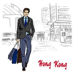 man on hong kong vector image vector image