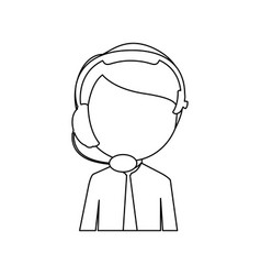 monochrome contour with half body man of call vector image