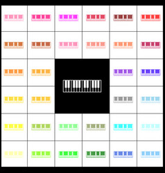 Piano keyboard sign felt-pen 33 colorful vector