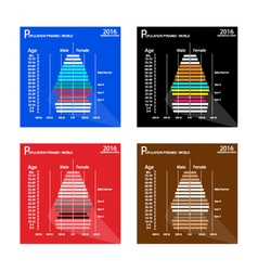 Population pyramids chart with 4 age generation vector