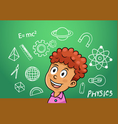 School boy write physics symbol object vector