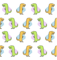 seamless dinosaur pattern funny cute dino vector image vector image