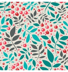 Seamless pattern with leaves and red berries vector image