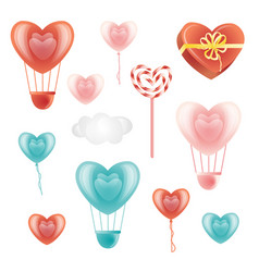 set of heart-shaped decoration elements and cloud vector image vector image