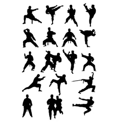 Taekwondo Karate and Wushoo Silhouettes vector image