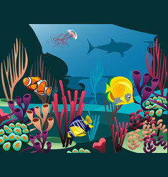 undersea world with fish vector image vector image