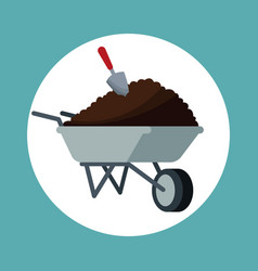 wheelbarrow with eart shovel garden vector image