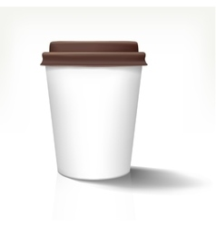 White realistic paper cup in front view with brown vector