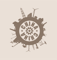 circle with industry relative silhouettes china vector image