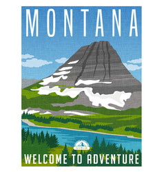Montana travel poster vector