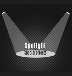 Realistic white gray glowing spotlights on vector