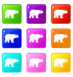 Wild bear icons 9 set vector