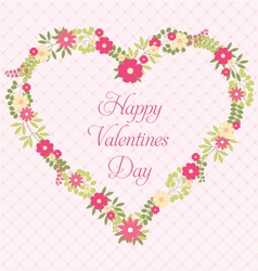 Happy valentines day greeting card with flowers in vector