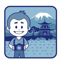 Teaser with photographer travels through japan vector
