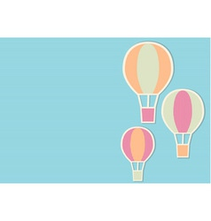 Blue background with three bright air balloons vector
