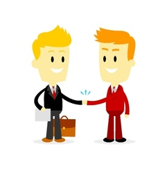 Two businessman making a deal vector
