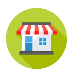 Shop market circle flat icon vector