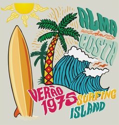 Surfing island vector