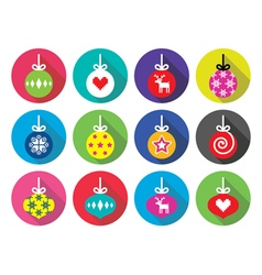 Christmas ball christmas bauble flat design icons vector