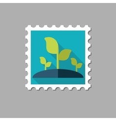 Plant sprout flat stamp with long shadow vector