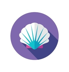 Seashell flat icon with long shadow vector