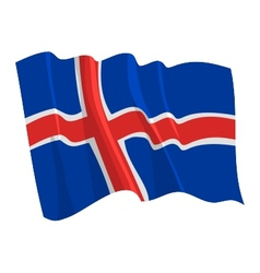 Political waving flag of iceland vector