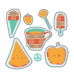 Happy colorful stickers and embroidery patches vector