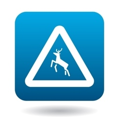 Sign caution deer icon simple style vector