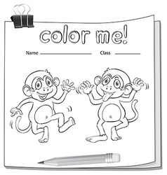 A worksheet showing two playful monkeys vector