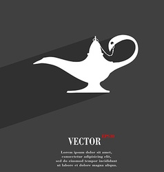 Alladin lamp genie symbol flat modern web design vector