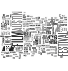 austin film festival text word cloud concept vector image vector image