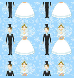 Bride and groom seamless pattern vector