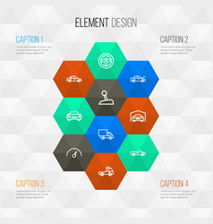 Car outline icons set collection of stick bonnet vector